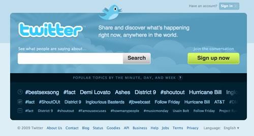 Pantalla de bienvenida de la pagina de Twitter