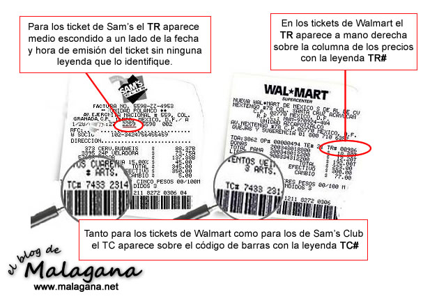 Guía para encontrar los TR y TC de los Tickets de Walmar y Sam's Club