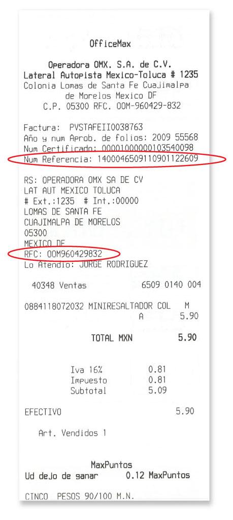 Ticket para sacar facturas electronicas de OfficeMax