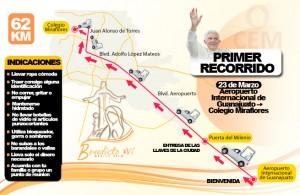 Ruta de Primer Recorrido de Papa Benedicto en Mexico