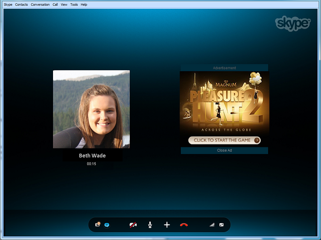 Conversation Ads de Skype en Windows