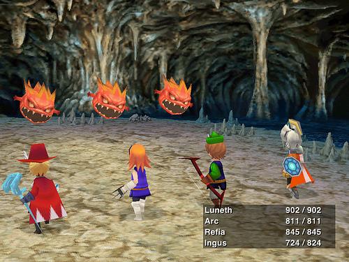 Una batalla en Final Fantasy III para OUYA