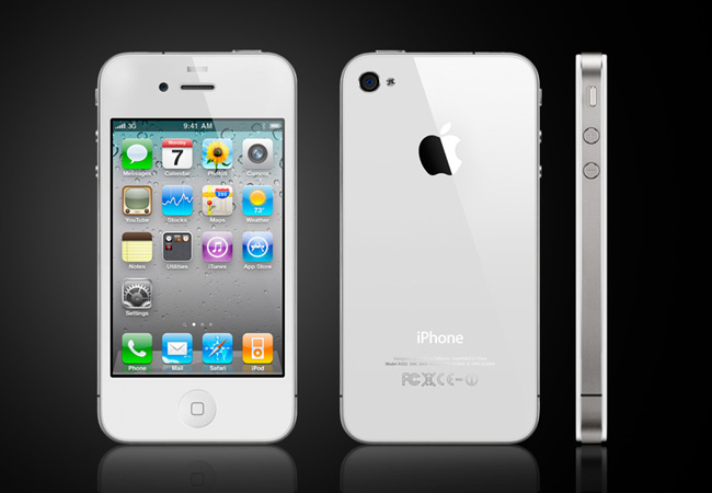 El modelo iPhone 4S en blanco
