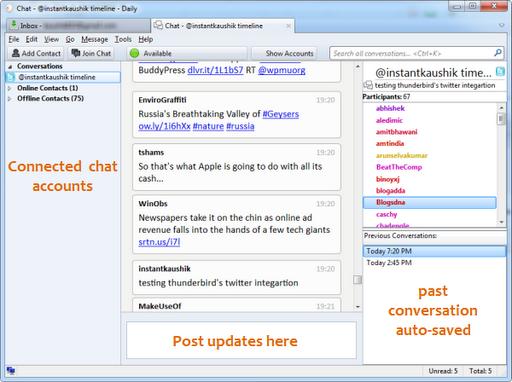 El sistema de chat de Mozilla Thunderbird