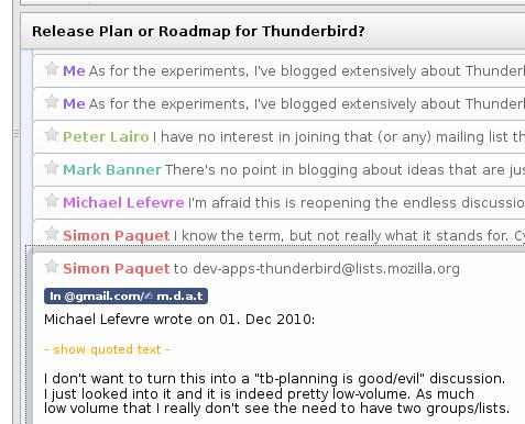 Una conversación en la interfaz de Mozilla Thunderbird