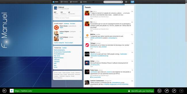 Uno de los pocos clientes Twitter en Windows 8