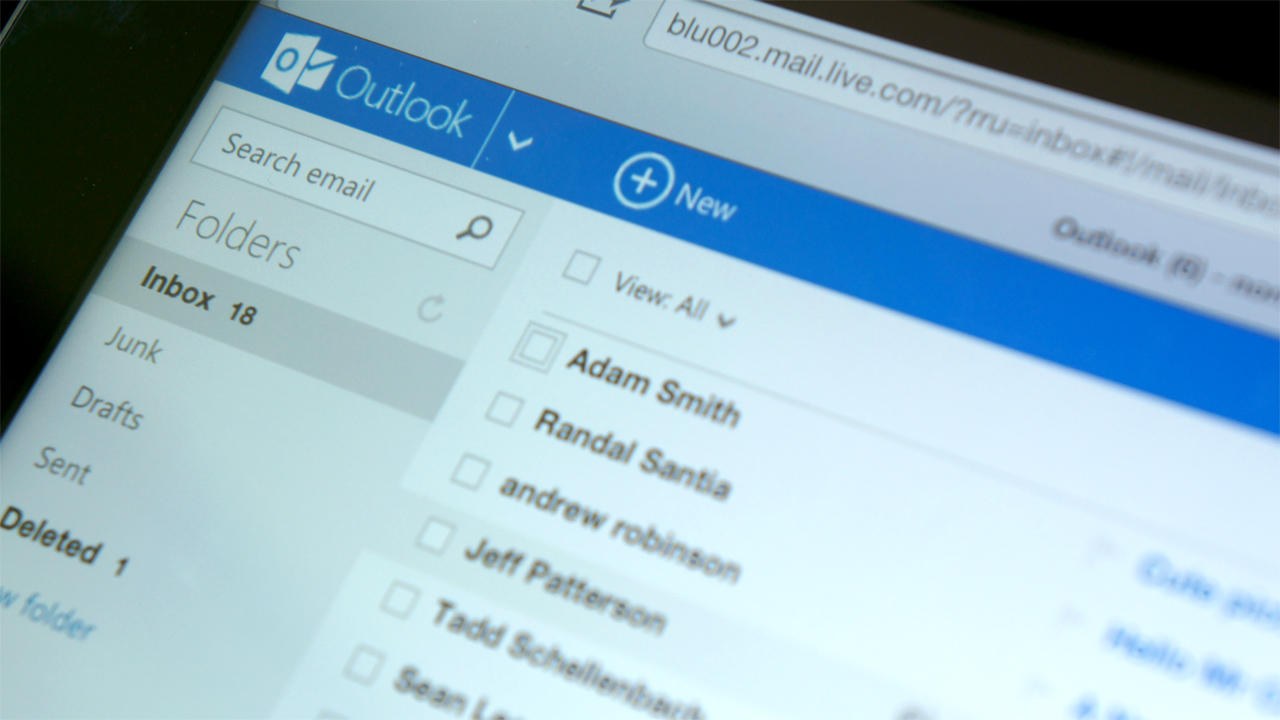 Interfaz de OutLook.com
