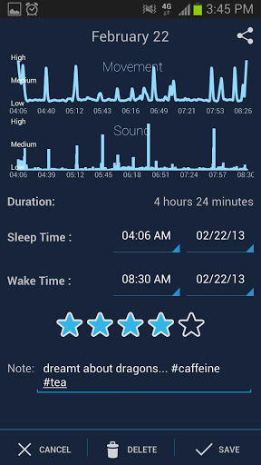 Interfaz de SleepBot - Sleep Cycle Alarm