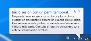 Mensaje de cuenta temporal de Windows