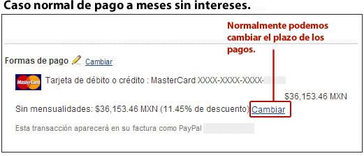 Caso normal de pago a meses Paypal