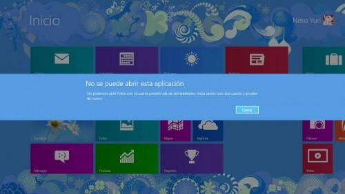 Error al abrir una aplicación en Metro en Windows 8