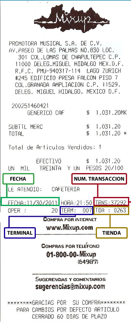 Ticket de compra de iShop y Mixup para facturación electrónica