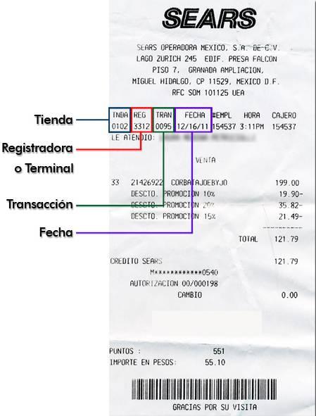 Factura Electrónica SEARS ticket de Compra