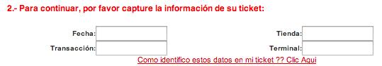 Informacion de Ticket para Facturación Electrónica SEARS