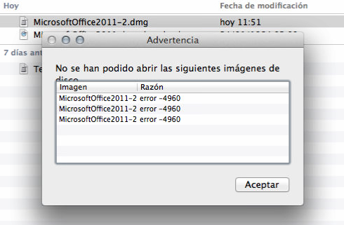 Como solucionar el Error 4960 Office 2011 Mac