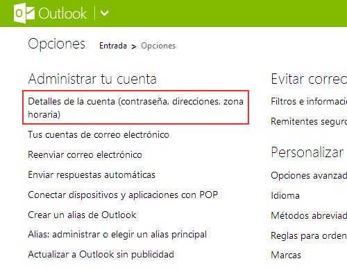 Como ajustar la hora de la fecha de entrada de Outlook.com
