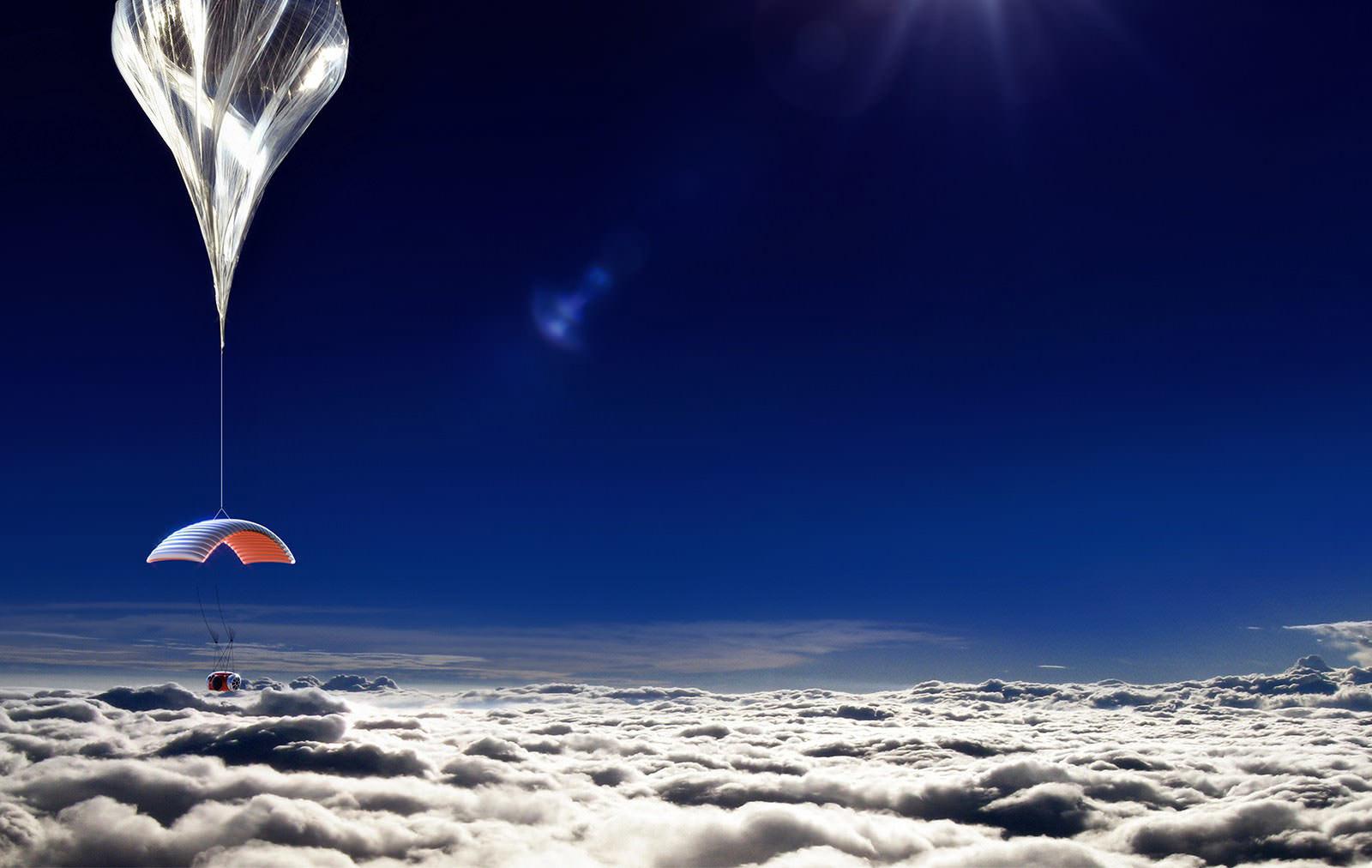 La capsula elevándose a la estratosfera