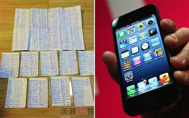 Lista escrita a mano por el ladrón