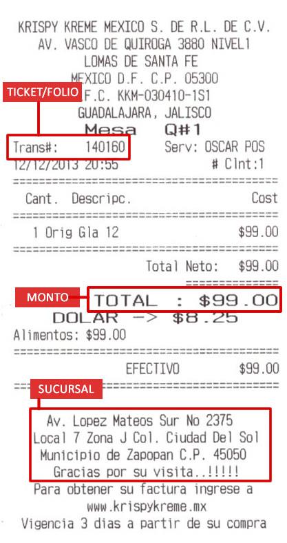 Ticket que muestra los elementos solicitados para la generación de facturas electrónicas de  Krispy Kreme México.