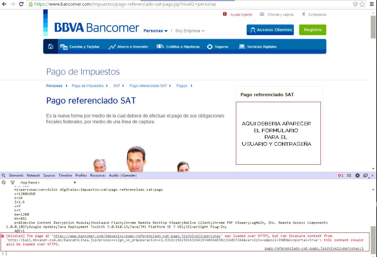Al tratar de procesar el pago referenciado de SAT en Bancomer no aparece usuario y contraseña  en la imagen se muestra el error que manda el navegador de manera bastante clara.