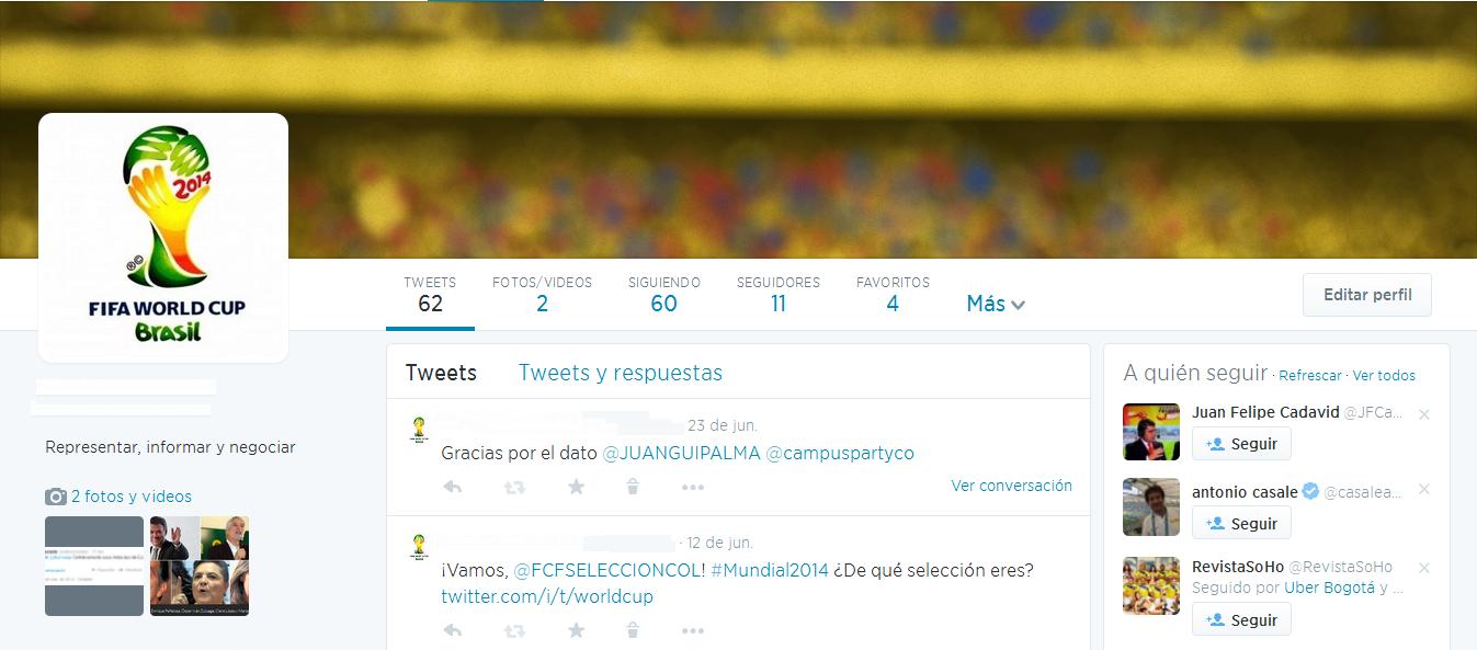 Perfil de Twitter con Logo del Mundial