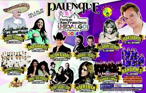 Cartelera artistas Palenque Pachuca 2014