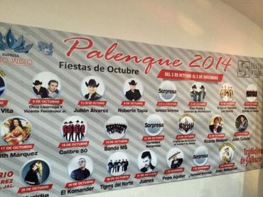 Cartelera de artistas del  Palenque Fiestas Octubre 2014