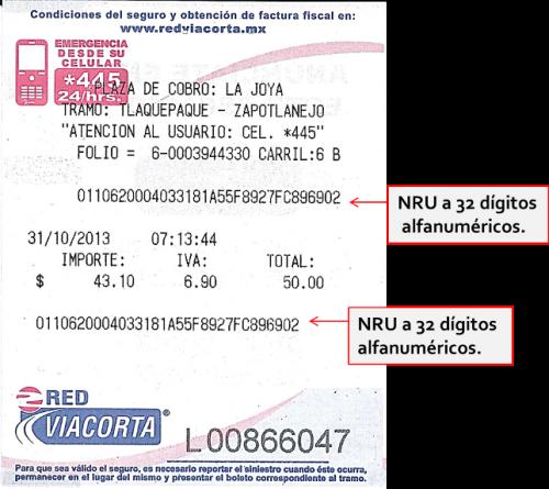 Te indicamos donde aparece el NRU del Ticket de Red Vía Corta para la facturación electrónica de tus recorridos en esta red de autopistas.