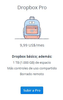 Nuevo plan Pro de Dropbox