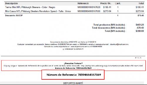 Te indicamos donde aparece el numero de referencia en tu ticket para poder generar las facturas electrónicas de tus compras en Deportes Marti