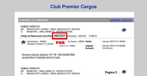 PNR para Facturación Electrónica Club Prermier Aeroméxico