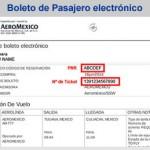 Te indicamos donde aparece el PNR y Num Ticket del Boleto de Pasajero Electrónico de Aeroméxico.