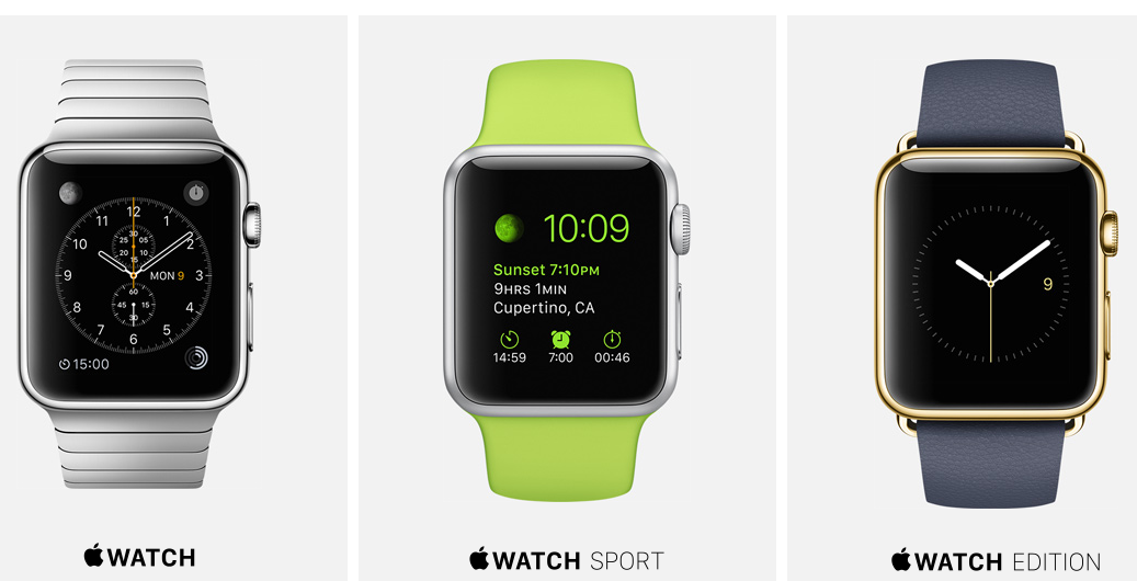 Las 3 versiones del Apple Watch