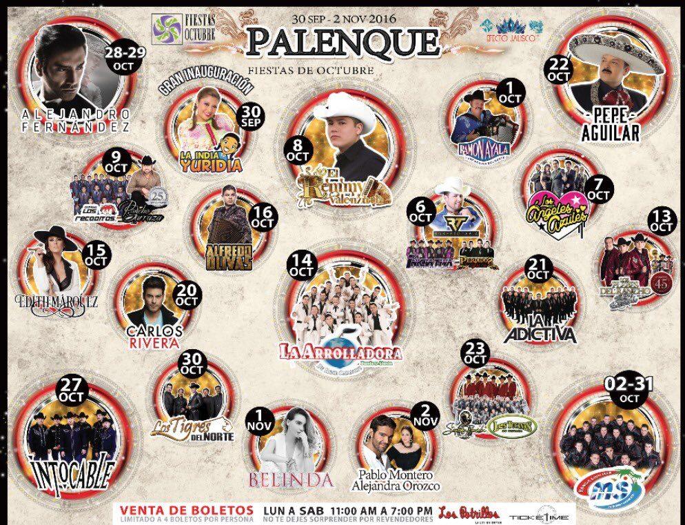 Te dejamos la cartelera de artistas para el Palenque Fiestas de Octubre 2016