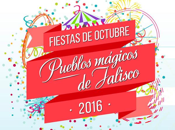 El logo de las Fiestas de Octubre 2016, dedicado a los Pueblos Mágicos de Jalisco