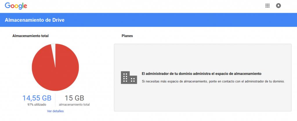 Resolver mensaje de G Suite el administrador de tu dominio administra el espacio de almacenamiento