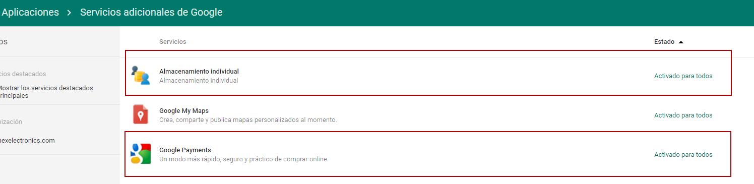 Como habilitar Almacenamiento Individual y Google Payments en G Suite