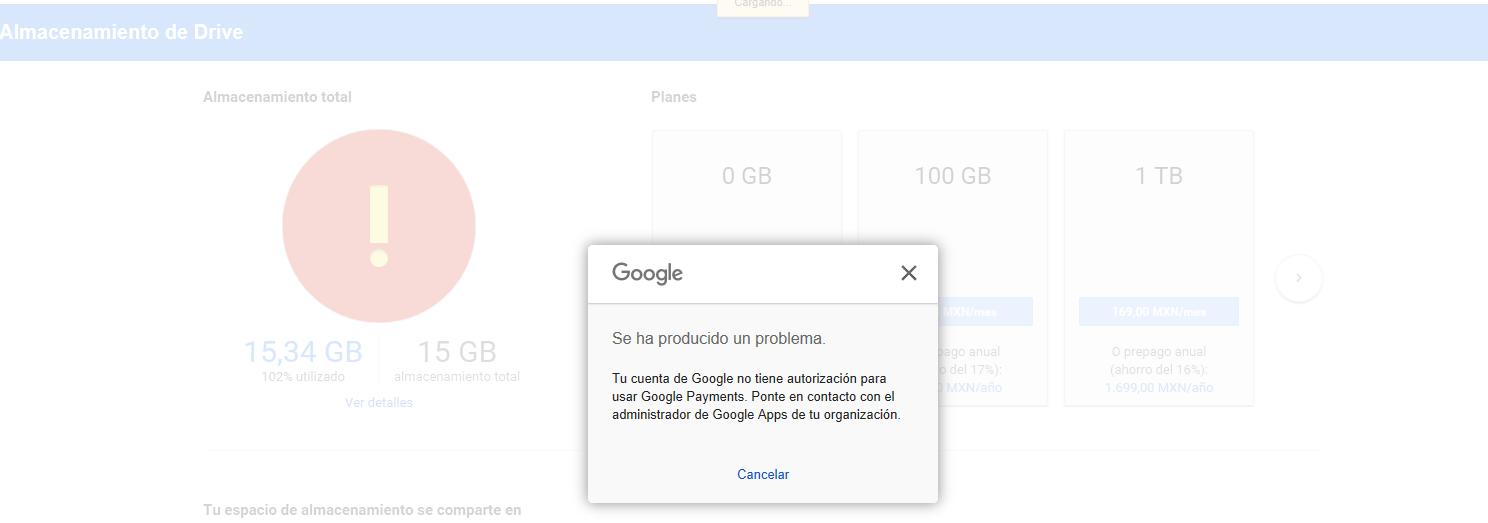 Solución al mensaje de  G Suite de Google Payments no esta activado al incrementar espacio en la cuenta.