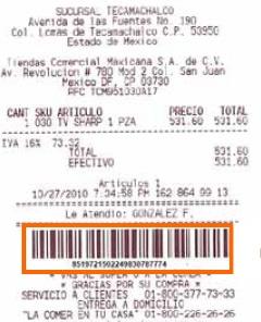 Donde aparece el numero de ticket para facturación electrónica de La Comer, Fresko, City Market