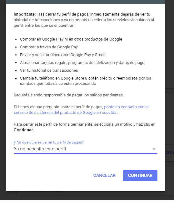 Confirmar Cierre Perfil Google Payments BM-RGCH-06