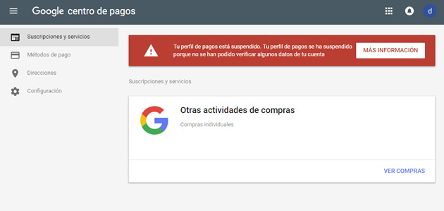 Google Payments Perfil de Pago Suspendido