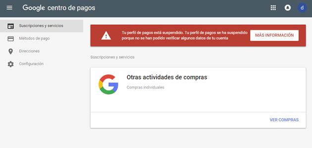 Google Payments Perfil de Pago Suspendido