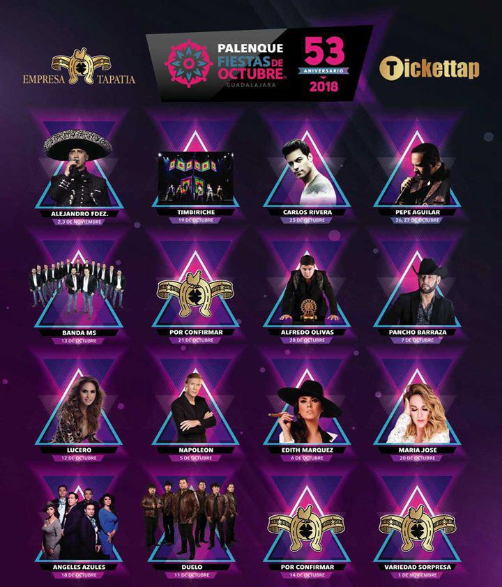 Artistas Palenque Fiestas Octubre 2018