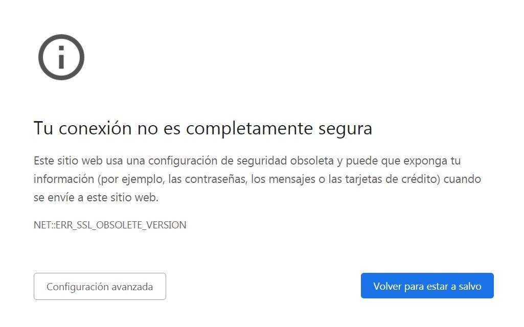 Solución el error ERR_SSL_OBSOLETE_VERSION